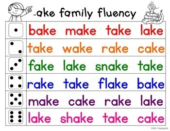 Fluency Families {long a words}