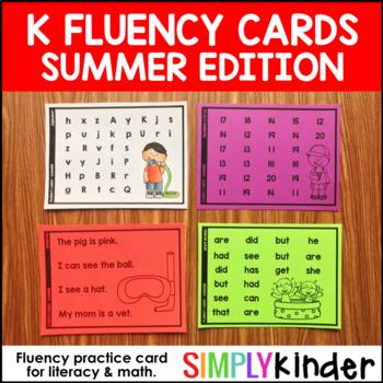 Summer Fluency Cards - Kindergarten Fluency