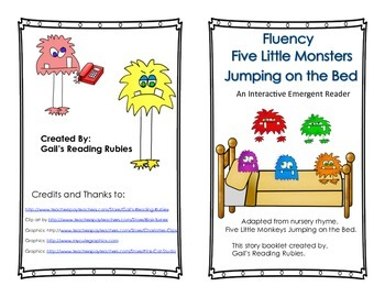 Fluency Five Little Monsters Jumping On the Bed Interactive Emergent Reader