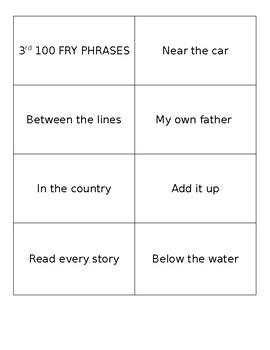 Fluency Flashcards (Fry 300 Word List)