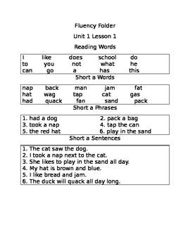 Fluency Folder Unit 1