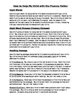 Fluency Folder Directions for Parents