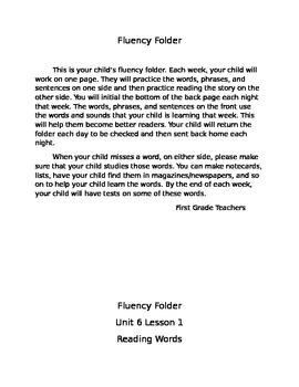 Fluency Folder Unit 6
