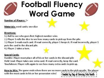 Fluency Football Word Game