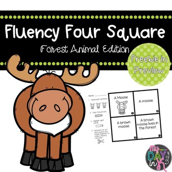 Fluency Four Square: Forest Animal Edition