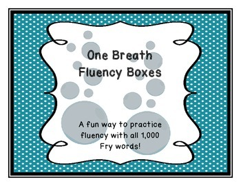 Fry Words Fluency Fun! One Breath Fluency Boxes