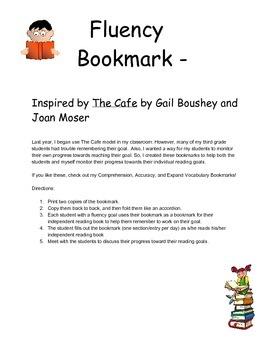 Fluency Goal Bookmark - CAFE/CRAFT Inspired