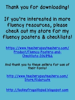 Fluency Graphs Freebie!