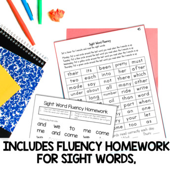 Fluency Homework the BIG Bundle for Kindergarten