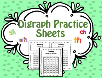 Digraphs Practice Sheets (SH, CH, TH, PH, WH)