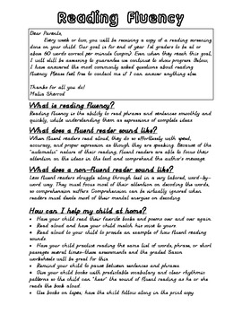 Fluency Letter to Parents