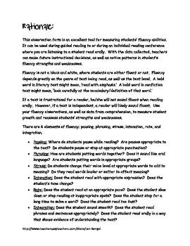 Fluency Observation Form