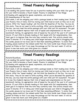 Fluency Packet Letters