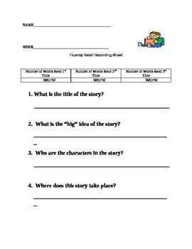 Fluency Passage Recording Sheet