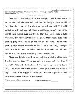 """-tch"" Spelling Reading Passage: Fluency + Running Record"