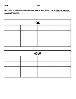 Fluency Passage for vowel digraphs -ou and -ow