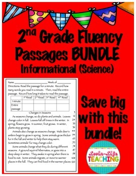 Fluency Passages 2nd Grade Informational Science BUNDLE with Words Per Minute