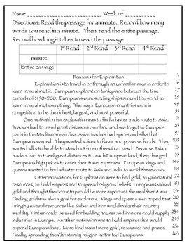 Fluency Passages- 3rd Grade GSE Social Studies (NEW) European Exploration