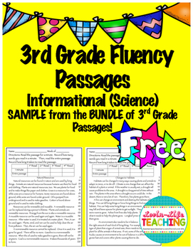 Fluency Passages 3rd Grade Informational BUNDLE PREVIEW- Freebie of the Week!