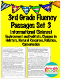 Fluency Passages 3rd Grade Informational-Environment, Habitats, Conservation, +