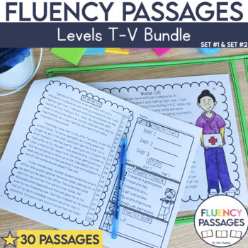 Fluency Passages 5th Grade Bundle: Set 1 and 2 {Level T-V}