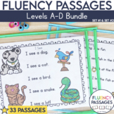 Fluency Passages Kindergarten Bundle: Set 1 and 2 {Level A-D}