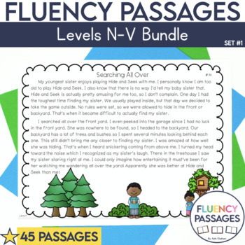 Fluency Passages: Set 1 Bundle- 3rd, 4th & 5th Grade {Level N-V}