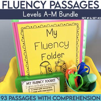 Fluency Passages: Set 1 and 2 Bundle- Kindergarten, 1st & 2nd Grade {Level A-M}
