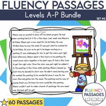 Fluency Passages Set 2 Bundle: Kindergarten, 1st, 2nd & 3rd Grade {Level A-P}