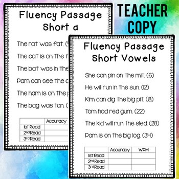 Fluency Passages: CVC words, short vowels, tracking sheets ...