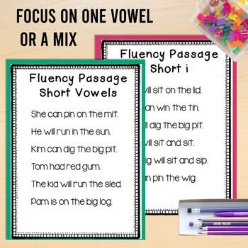 Fluency Passages CVC Words Short Vowels Tracking Sheets