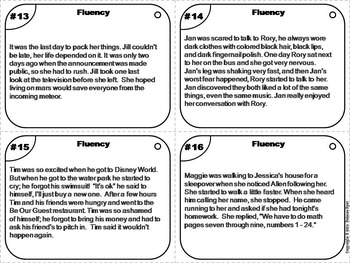 Reading Fluency Passages Task Cards 3rd 4th 5th 6th Grade Reading Comprehension