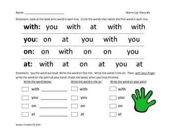 Fluency Passages With Sight Word Activites