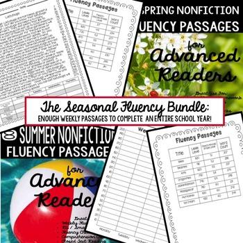 Fluency Passages for Advanced Readers the BUNDLED Seasonal Set