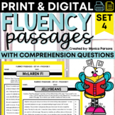 Reading Fluency Passages and Comprehension Questions - Set 4