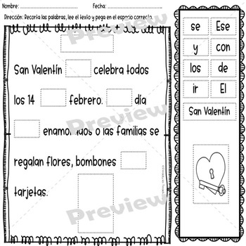 Fluency Passages in Spanish - Cut and Paste -  February Set - Key Added