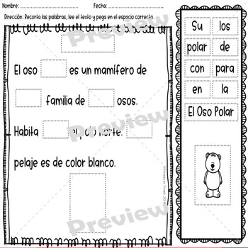 Fluency Passages in Spanish - Cut and Paste - January Set - Key Added