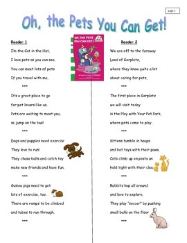 Fluency Passages on Pets
