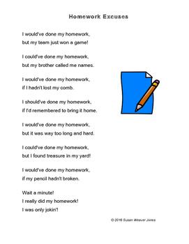 "Fluency, Phonics, and Fun through Poetry #10 (""Homework Excuses"")"