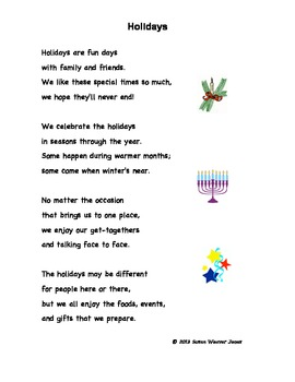 "Fluency, Phonics, and Fun through Poetry # 4 (""Holidays"")"