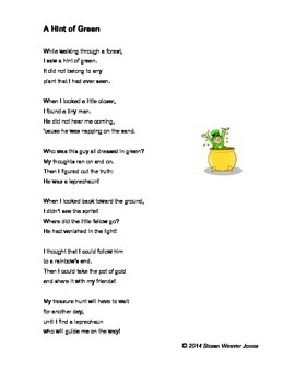 """Fluency, Phonics, and Fun through Poetry # 7 (""""A Hint of Green"""")"""