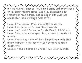 Fluency Phrase Cards