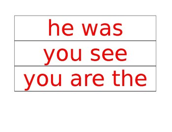 Fluency Phrase Cards for Phonics First Red Words Layer 1
