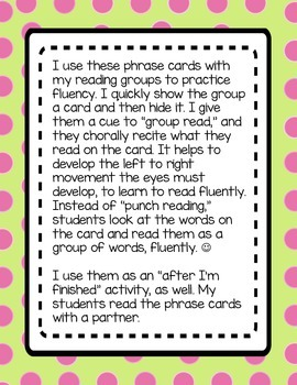 Fluency Phrase Cards for Small Group Reading