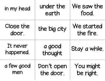 Fluency Phrase Flashcards - Fry's Third Hundred