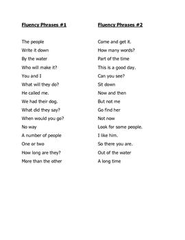 Fluency Phrase Lists