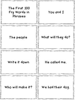 Fluency Phrases Flash Cards Pack 1