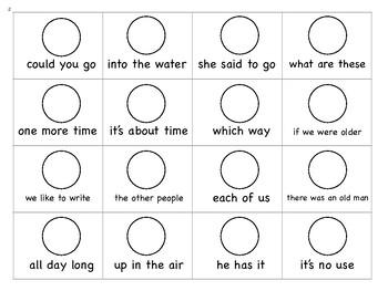 Frye Fluency Phrases