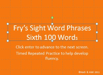 Fluency Phrases Bundle - First 100 - Sixth 100 Fry's Phrases