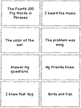 Fluency Phrases Flash Cards Pack 2